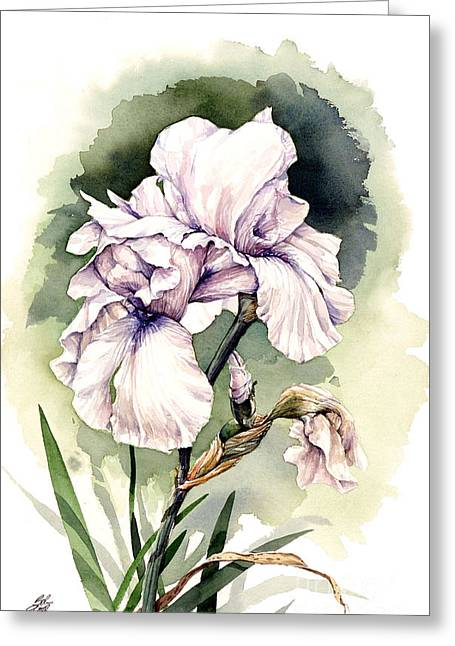 Greeting Card featuring the painting White Iris by Bob  George