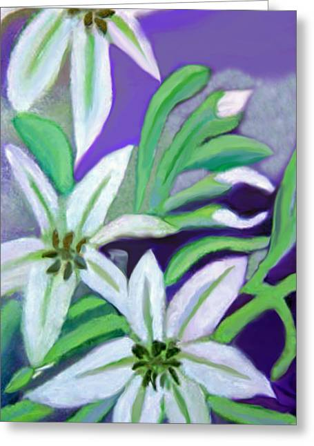 White Lilies Greeting Card by Margaret Harmon