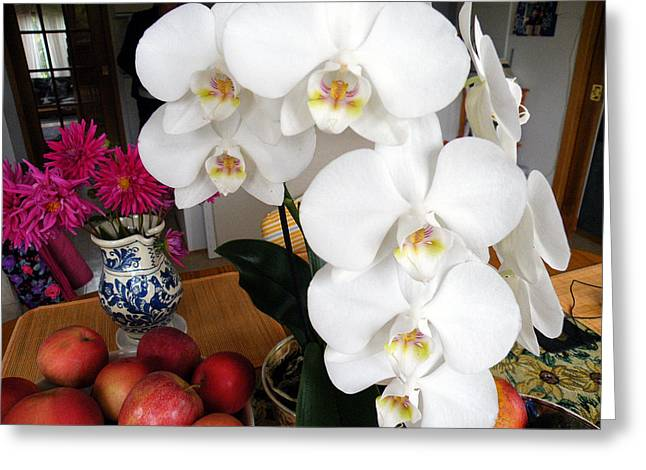 Greeting Card featuring the digital art White Orchid by Vicky Tarcau
