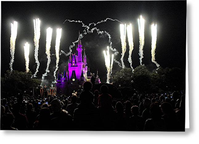 White Over Night At The Magic Kingdom Greeting Card