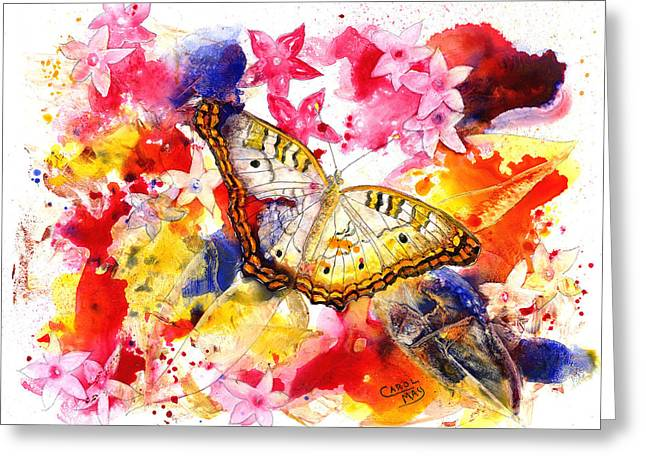 White Peacock Butterfly With Pentas Greeting Card by Art by Carol May