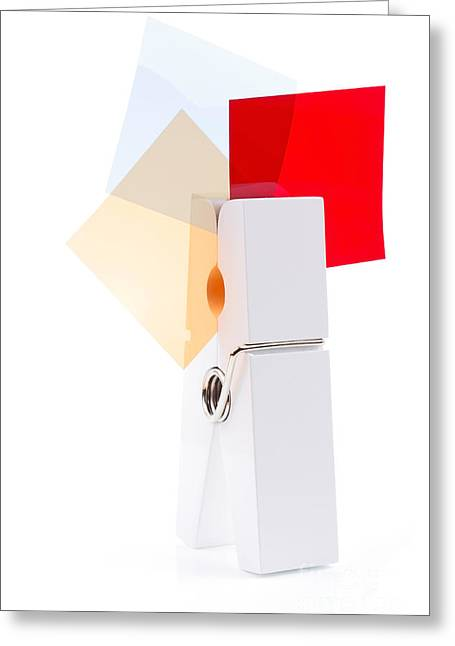 White Peg Holding Squares Greeting Card by Simon Bratt Photography LRPS