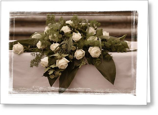 White Roses For The Wedding Greeting Card by Mary Machare