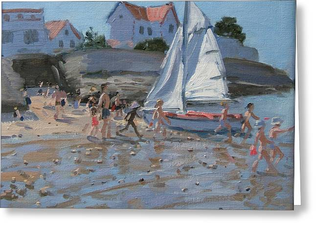 White Sailboat Greeting Card by Andrew Macara