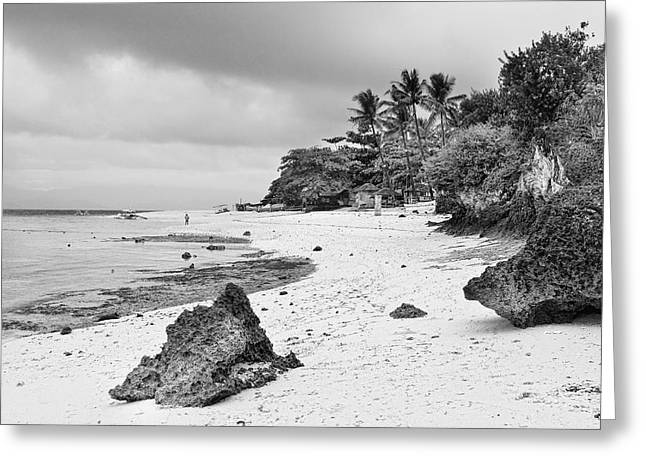 White Sand Beach Moal Boel Philippines Bw Greeting Card by James BO  Insogna