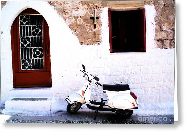 White Scooter Dreams Horizontal Greeting Card by Anthony Novembre