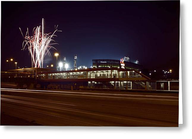 White Sox Homer Fireworks Greeting Card by Sven Brogren