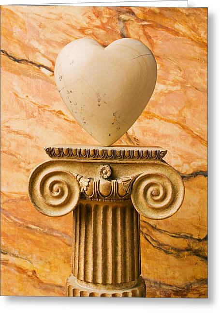 White Stone Heart On Pedestal Greeting Card