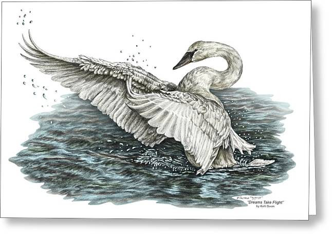 White Swan - Dreams Take Flight-tinted Greeting Card by Kelli Swan