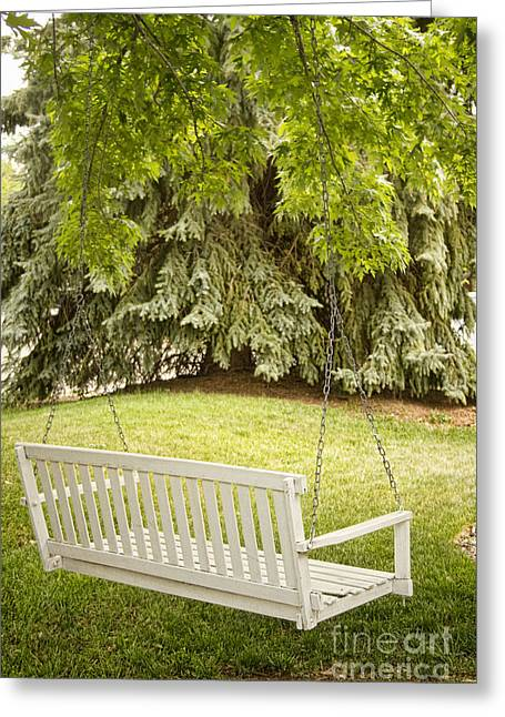 White Swing In The Green Greeting Card by James BO  Insogna
