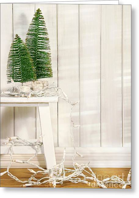 White Tree Lights  Greeting Card by Sandra Cunningham