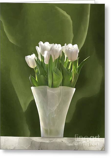 Greeting Card featuring the digital art White Tulips by Johnny Hildingsson