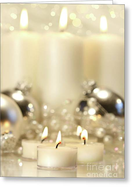 White Votive Candles  Greeting Card by Sandra Cunningham