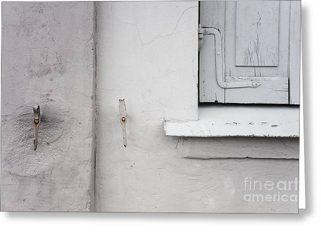 White Wall Gray Shutters Greeting Card