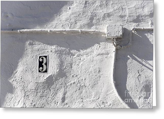 White Wall With Number 3 Plate Greeting Card by Agnieszka Kubica