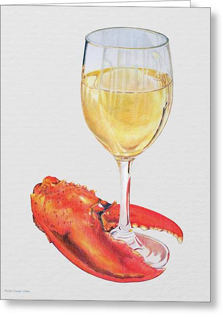 White Wine And Lobster Claw Greeting Card