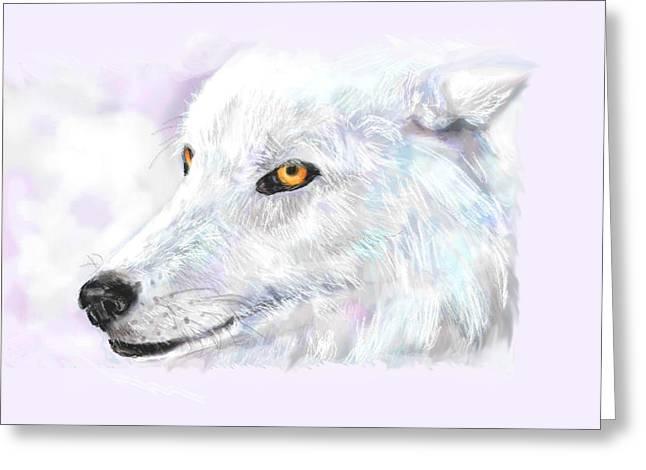 White Wolf Greeting Card by Lakota Phillips