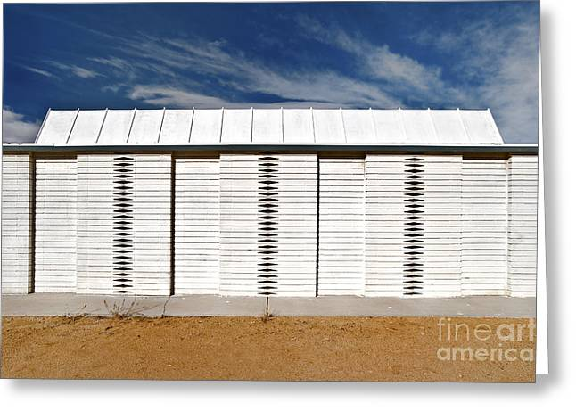 White Wooden Fence And Roof Greeting Card
