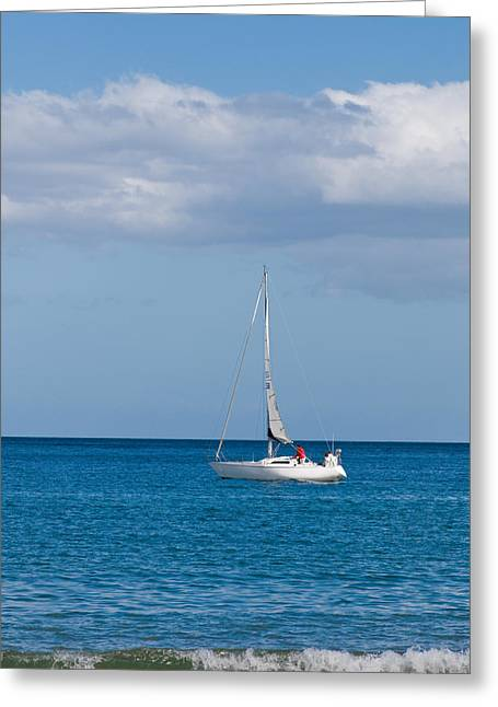 White Yacht Sails In The Sea Along The Coast Line Greeting Card by Ulrich Schade