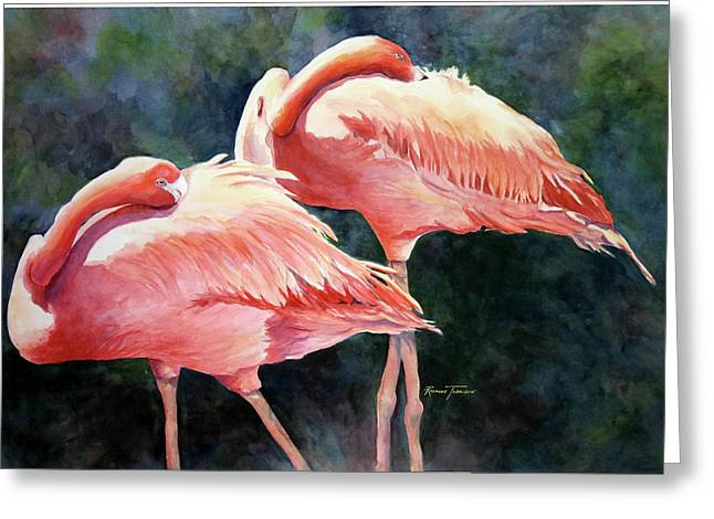 Greeting Card featuring the painting Who's Peek'n - Flamingos by Roxanne Tobaison