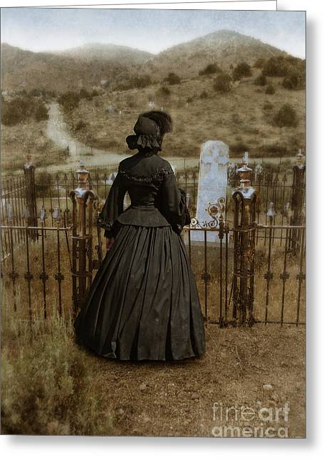 Widow At The Cemetery Greeting Card