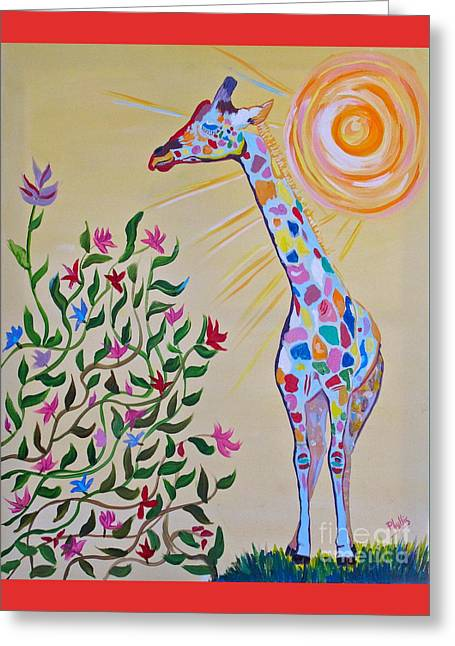 Wild And Crazy Giraffe Greeting Card by Phyllis Kaltenbach