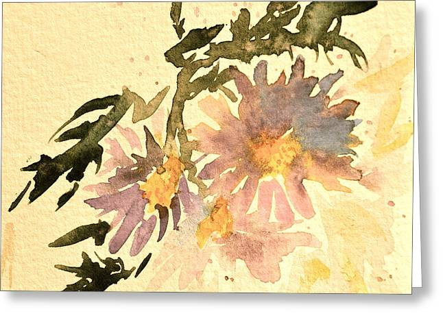 Wild Asters Aged Look Greeting Card by Beverley Harper Tinsley