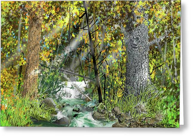 Greeting Card featuring the drawing Wild Creek - October by Jim Hubbard