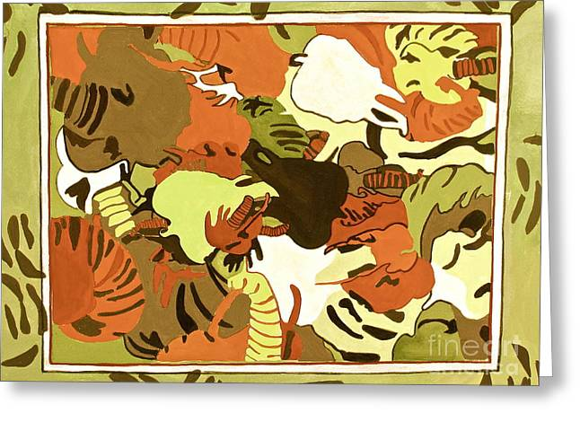 Greeting Card featuring the digital art Wild Elephants Brown by Beth Saffer