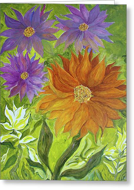 Greeting Card featuring the painting Wild Flowers by Joy Braverman