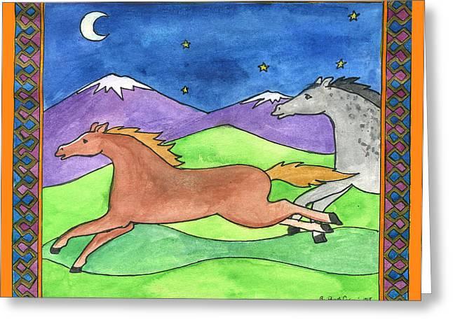 Wild Horses Greeting Card by Pamela  Corwin