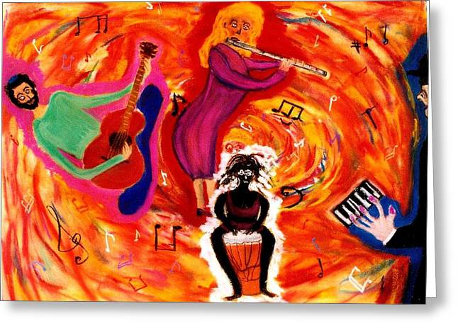 Wild Music Greeting Card by Eliezer Sobel