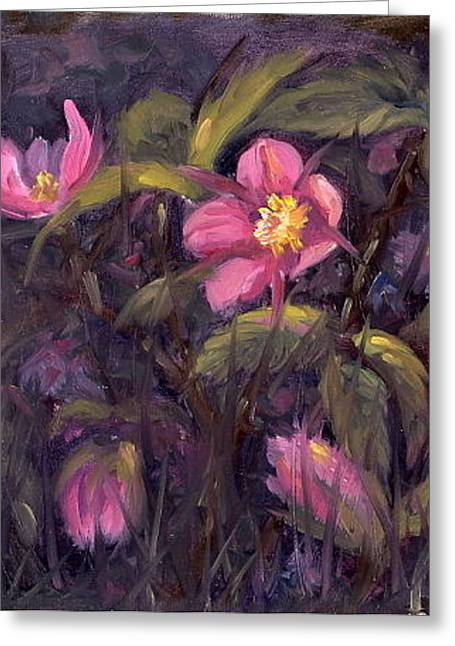 Greeting Card featuring the painting Wild Roses by Kurt Jacobson