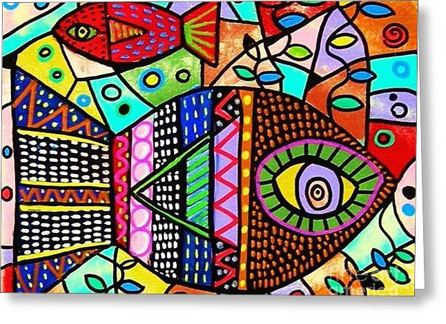 Wild Tribal Zebra Fish Greeting Card by Sandra Silberzweig