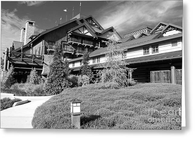 Wilderness Lodge Resort Beach Walt Disney World Prints Black And White Greeting Card by Shawn O'Brien