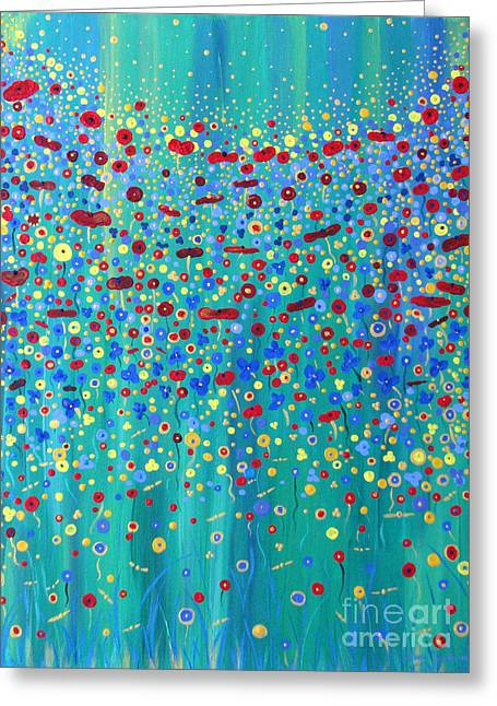 Greeting Card featuring the painting Wildflower Symphony by Stacey Zimmerman