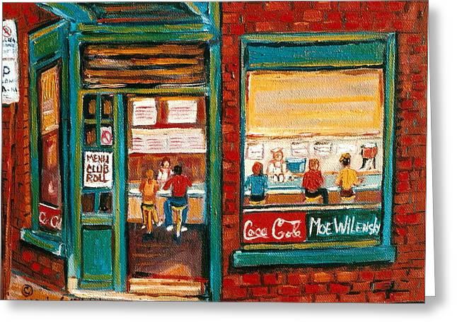 Wilensky Lunch Counter Sandwich Shop Montreal City Scene Greeting Card by Carole Spandau