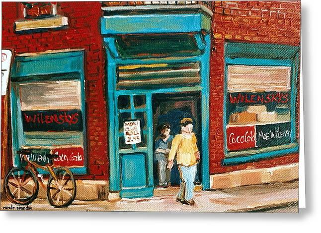 Wilenskys Lunch Counter  Fairmount Montreal Street Scene Greeting Card by Carole Spandau