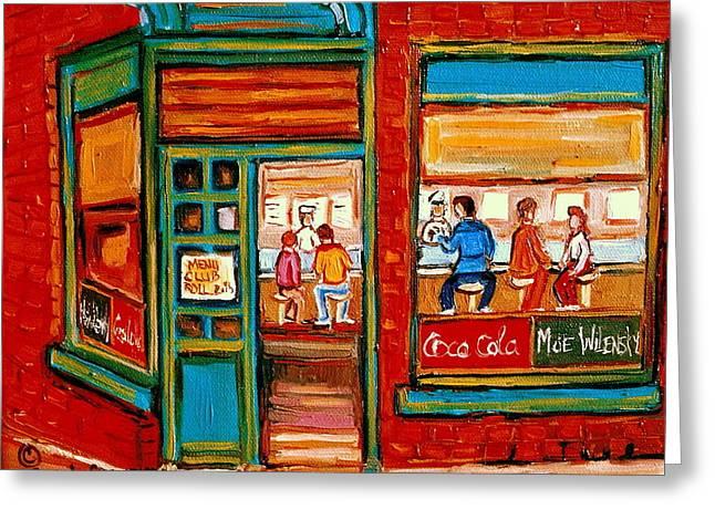 Wilenskys Sandwich Shop Corner Fairmount And Clark Le Plateau Montreal Greeting Card