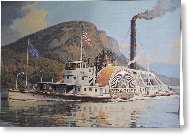 William G Muller Lithograph Towboat Syracuse  Greeting Card by Jake Hartz