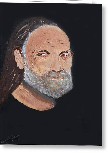 Willie Nelson In Black Greeting Card