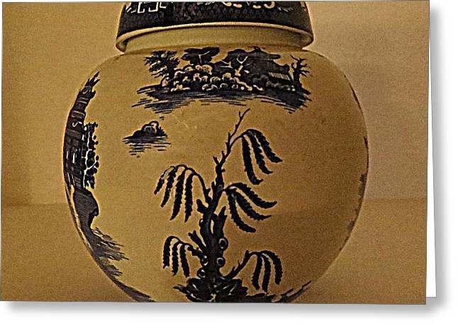 Willow Tea Jar Greeting Card by Patricia Januszkiewicz