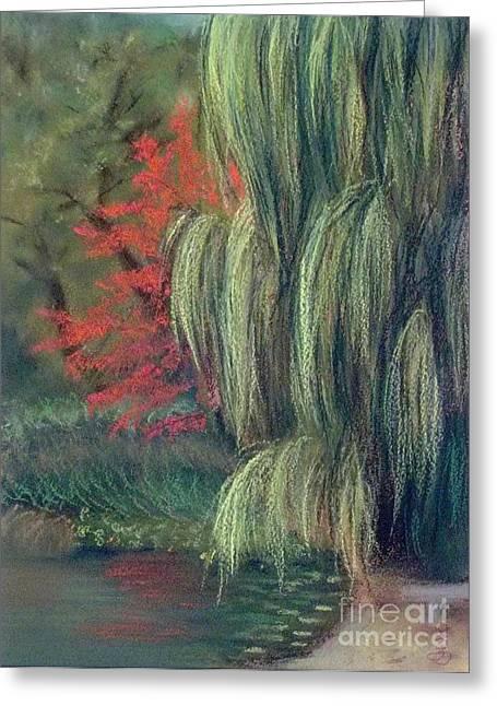 Greeting Card featuring the drawing Willow Tree - Hidden Lake Gardens -tipton Michigan by Yoshiko Mishina