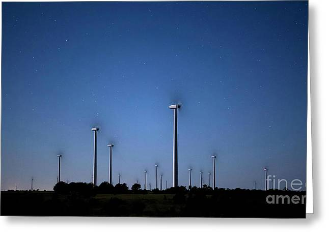 Wind Farm At Night Greeting Card by Keith Kapple