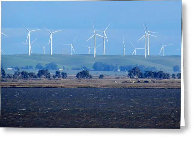 Wind Farm On The Delta Greeting Card