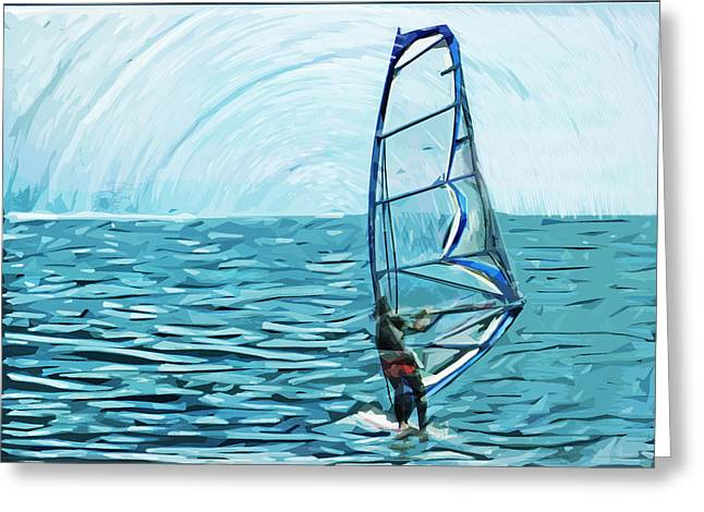 Wind Surfer Greeting Card by Tilly Williams
