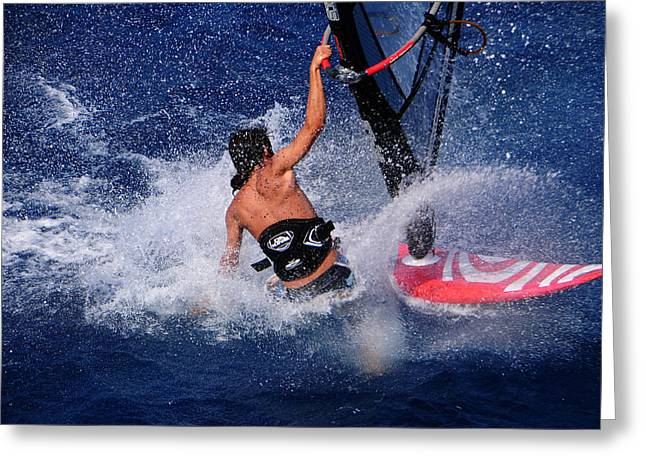 Wind Surfing Greeting Card by Manolis Tsantakis