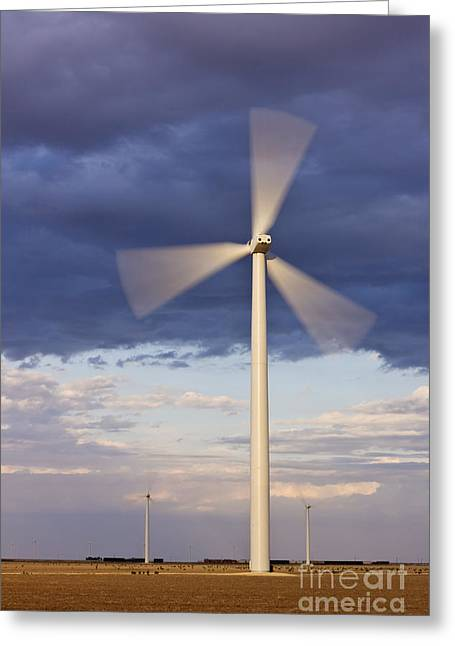 Wind Turbine Spinning At Dusk Greeting Card by Jeremy Woodhouse