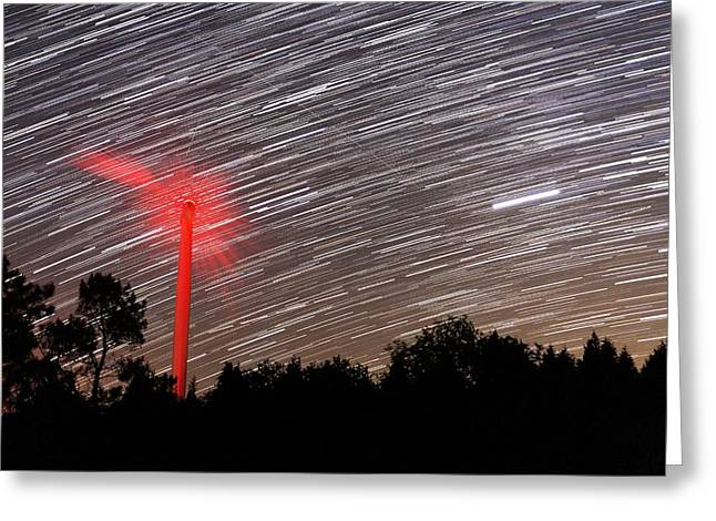 Wind Turbine Under Star Trails Greeting Card by Laurent Laveder