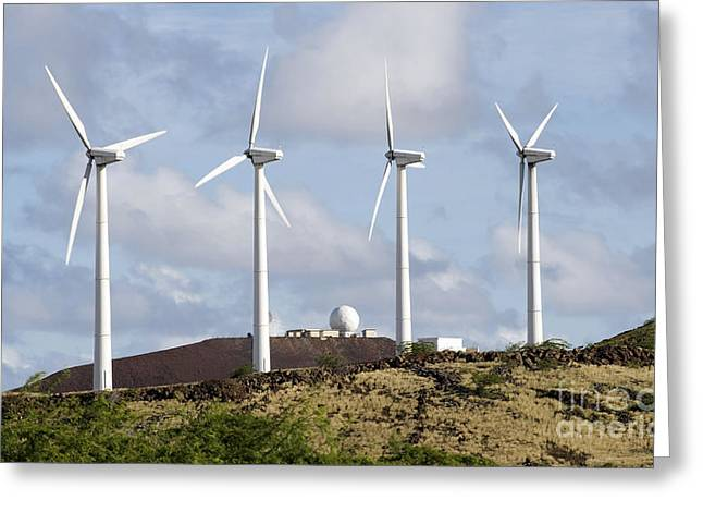 Wind Turbines At The Ascension Greeting Card by Stocktrek Images